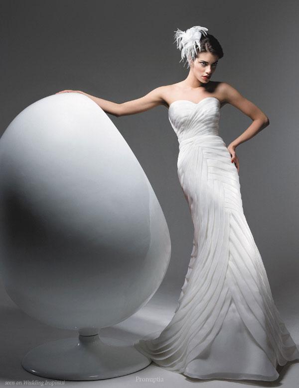 Bodycon definition: Drape, fit and flare wedding dress Roberto Torretta for Pronuptia