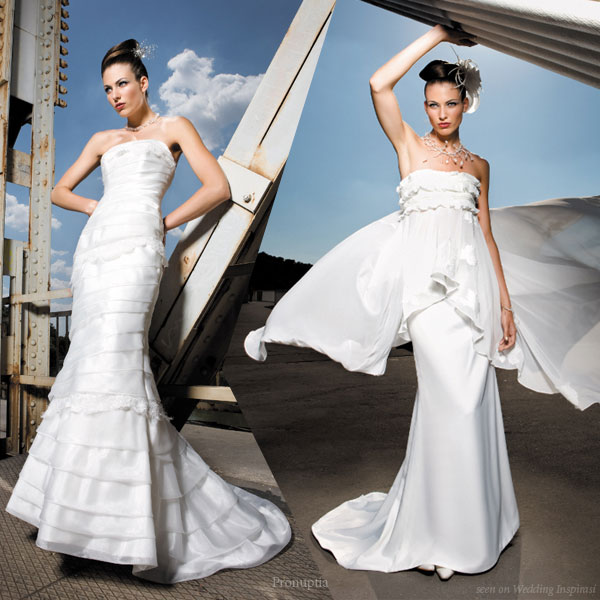 Strapless white western wedding gowns from Pronuptia