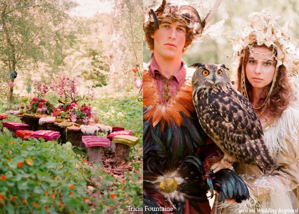 Royal faerie and elf forest wedding designed by Tricia Fountaine, photo by Elizabeth Messina