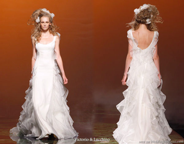 Ruffle wedding dress from Spanish bridal house Victorio y Lucchino