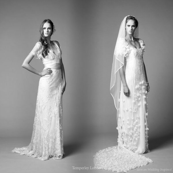 Short sleeve wedding gowns from Temperley London