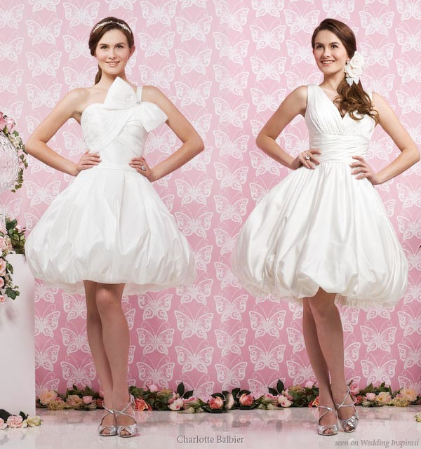 Adorable short wedding dresses featuring puffy bubble skirts
