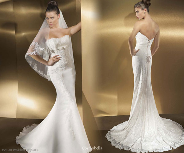 Sleek strapless white wedding gowns from Cosmobella Milano