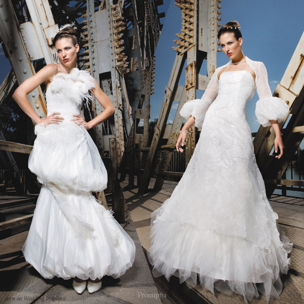 Unique wedding gowns for the brave bride - multi-tiered bubble skirt and puffy sleeves gown