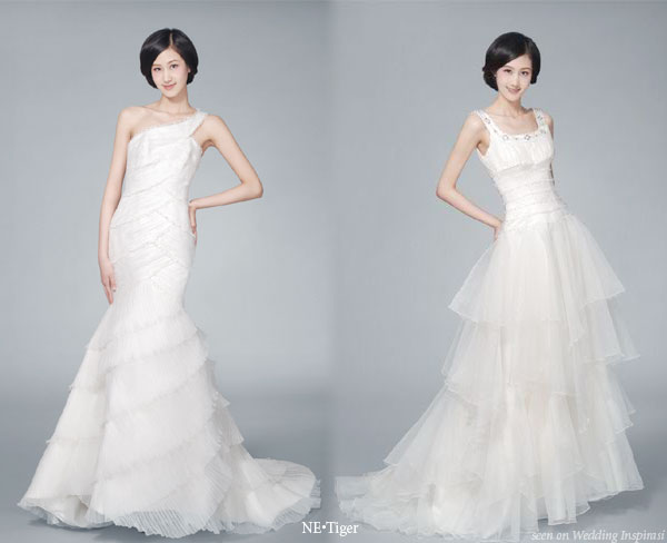White western style wedding dresses from China fashion house NE.Tiger