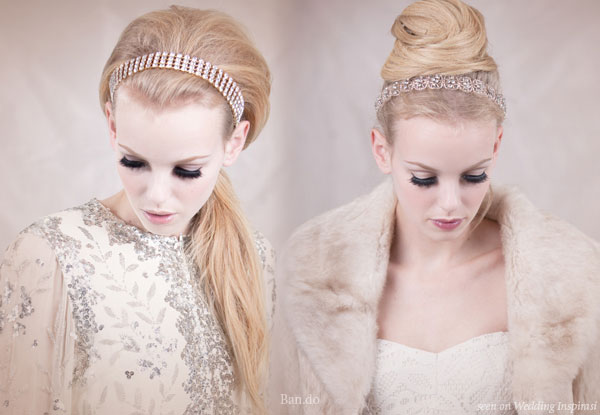 Long hair wedding styles ponytail and updo with crystal hair band