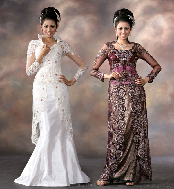 White and dark purple eastern traditional alternative to the western wedding dress
