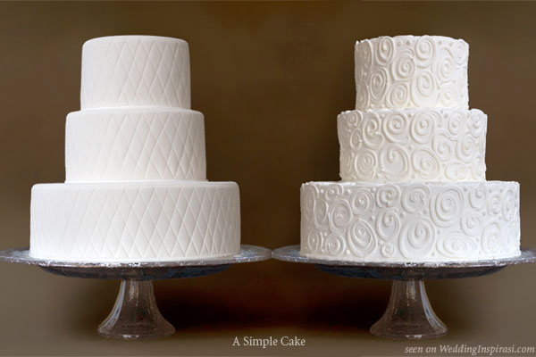 Quilted and modern swirl pattern wedding cake by A Simple Cake