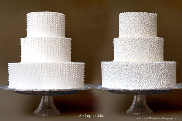 Raining dots, lace buttercream or fondant wedding cakes from A Simple Cake, Gail Watson