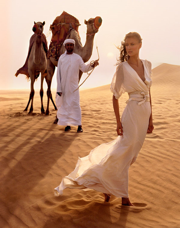 Arabian Desert Princess - silk georgette wedding dress with beaded obi belt from Amanda Wakeley Sposa Bridal collection