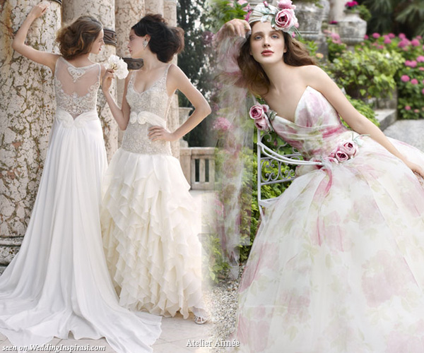 Romantic wedding dresses by Atelier Aimee for a garden party setting
