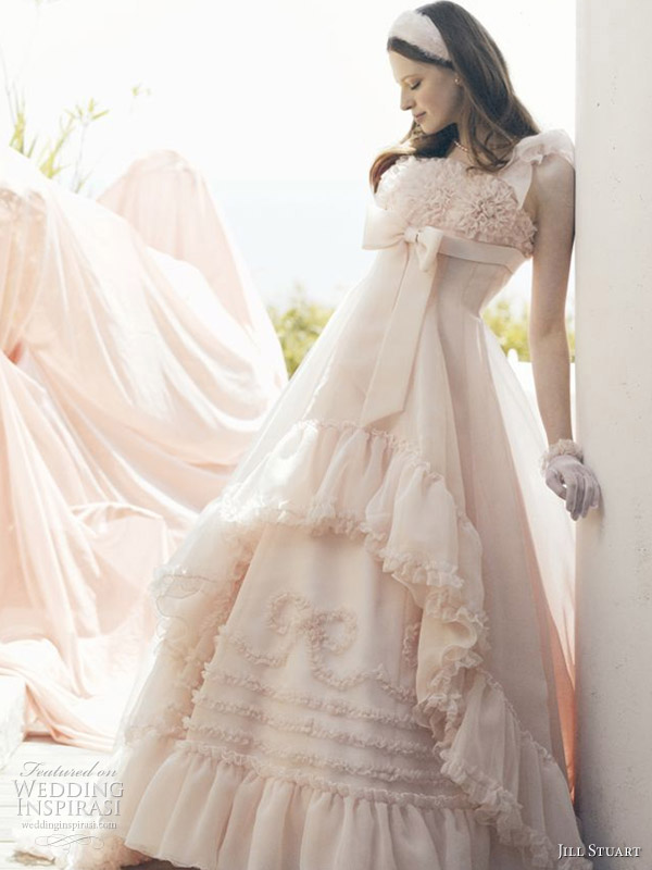 Pink bow ball gown wedding dresses by American fashion designer Jill Stuart