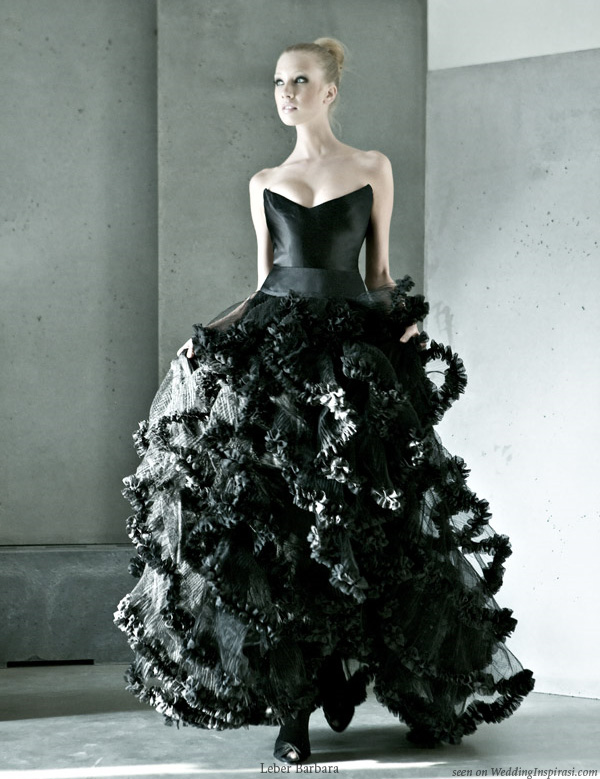 Stunning black ruffle gown Black wedding dress by Hungarian designer L ber