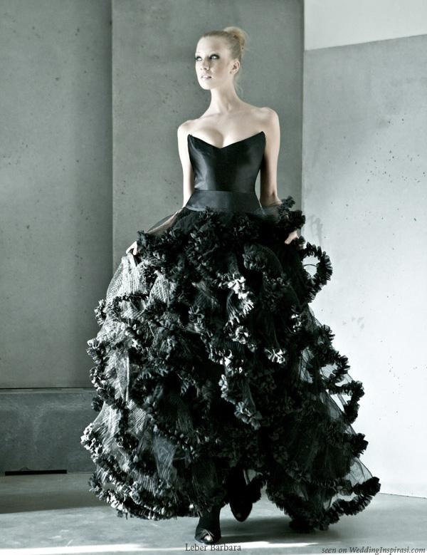Black wedding dress by Hungarian designer Léber Barbara