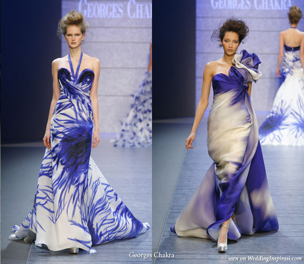 Blue and white evening dress 2010 spring summer couture collection