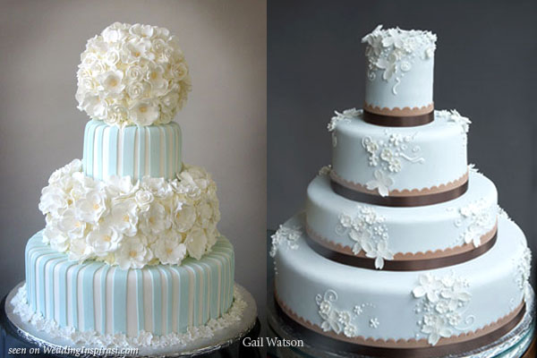 Light blue and white with flowers, robin blue with brown trim cakes by Gail Watson
