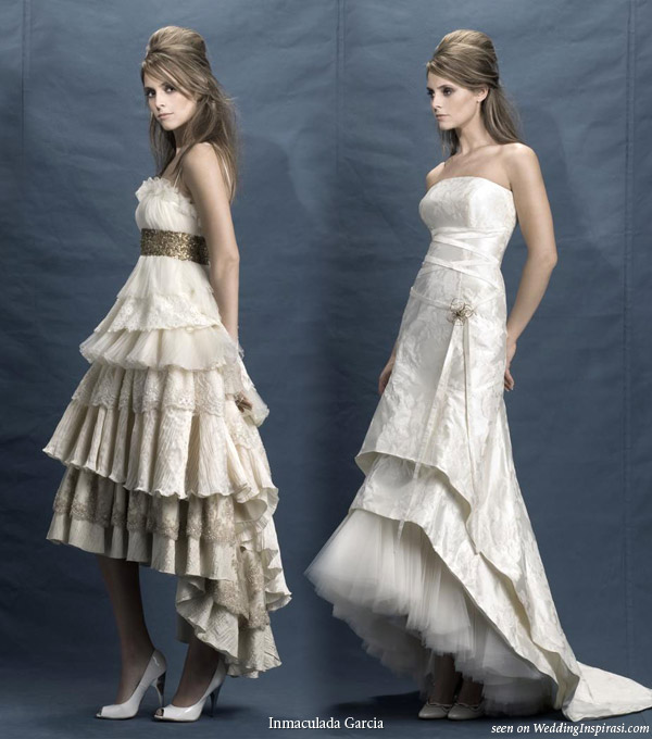 Inmaculada garc a 2010 brides collection wedding inspirasi for Wedding dresses asymmetrical hemline