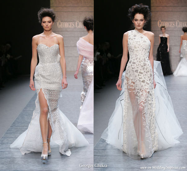White, grey, silver train evening dress from spring summer 2010 couture collection
