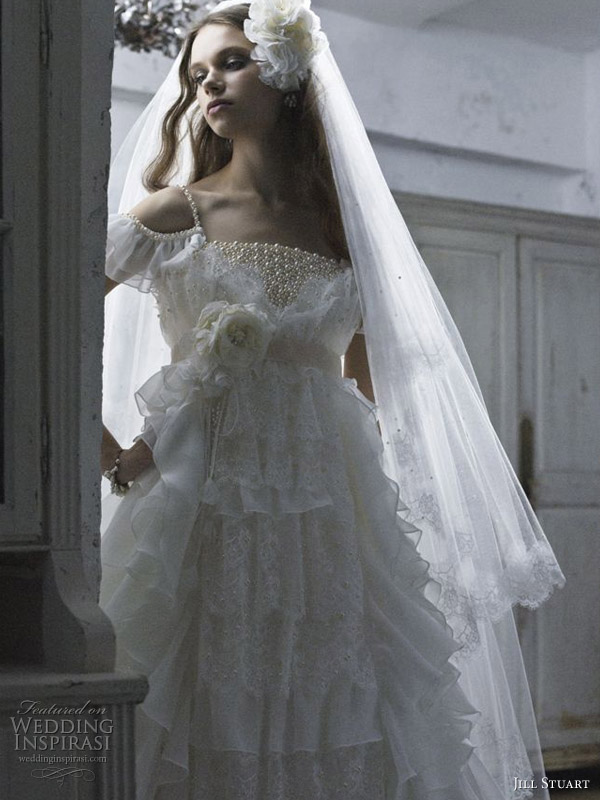 Beaded bodice rufffle off-shoulder wedding gown with bead strap with veil by