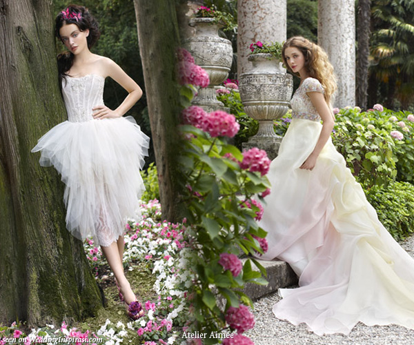 Romantic long train and short wedding dresses from Atelier Aimee