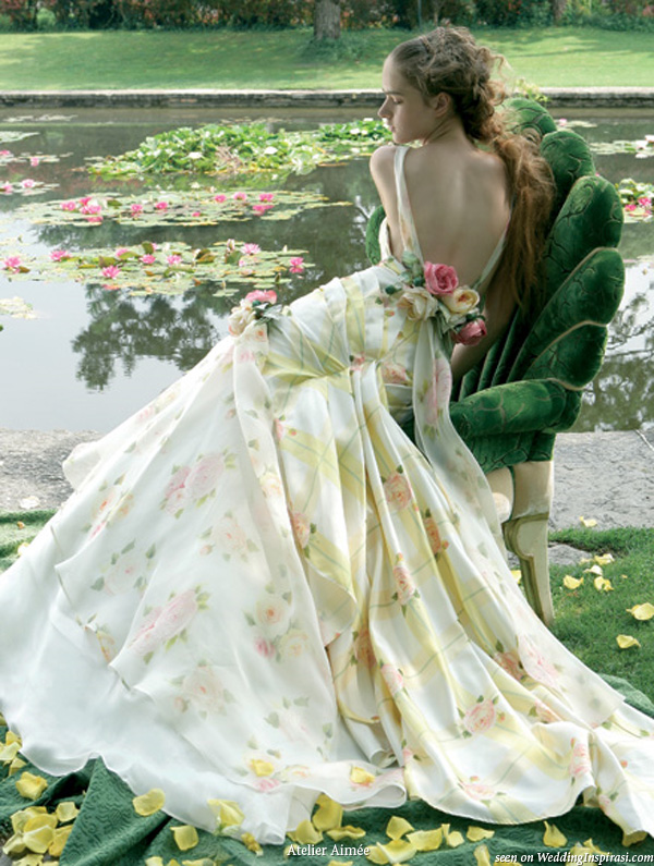 By the pond and flowers print wedding dress by Atelier Aimee