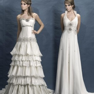 Tiered ruffle dress and v-neck wedding gown from Wedding dresses from Inmaculada Garcia 2010 Brides collection