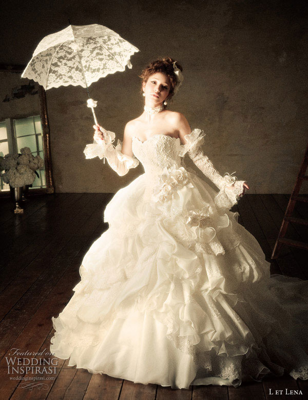 Romantic ball gown wedding dress and parasol featuring Japanese idol, singer and fashion model Fujii Lena