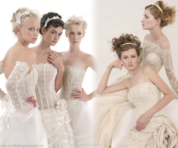 Emé di Emé le spose strapless lace wedding dresses for young, romantic, dreamy brides
