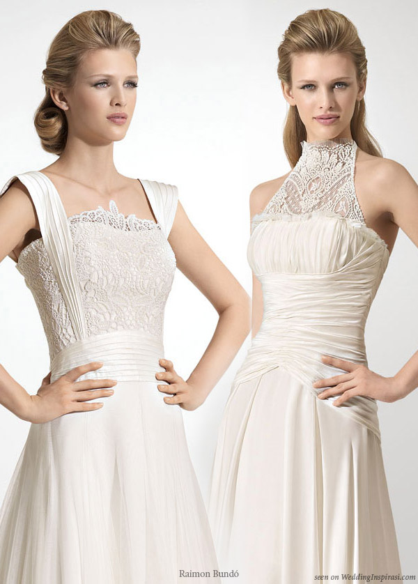 Lace bodice and neck detail on wedding dresses by Raimon Bundo