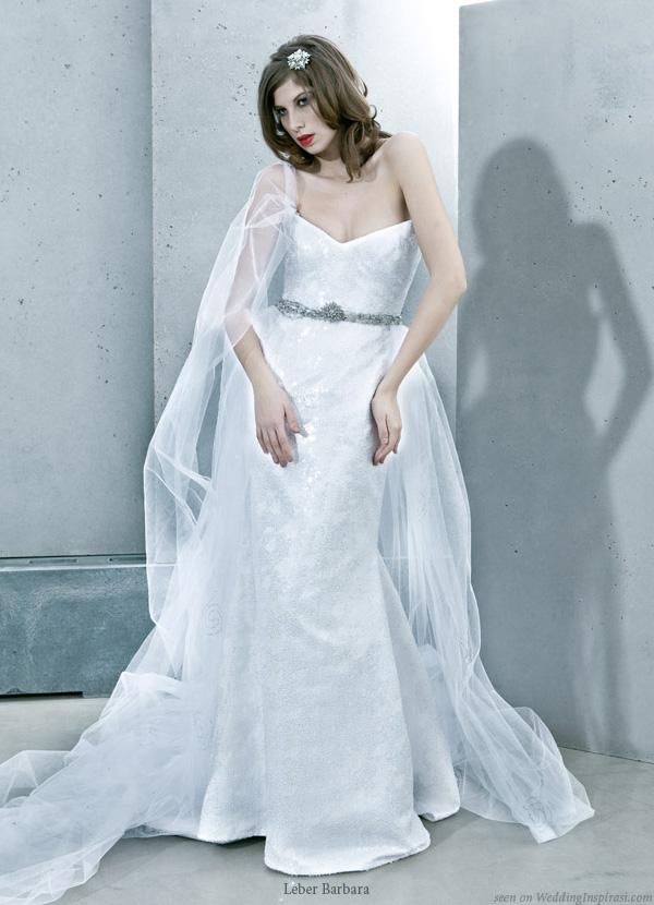 Hungarian designer Léber Barbara strapless wedding dress