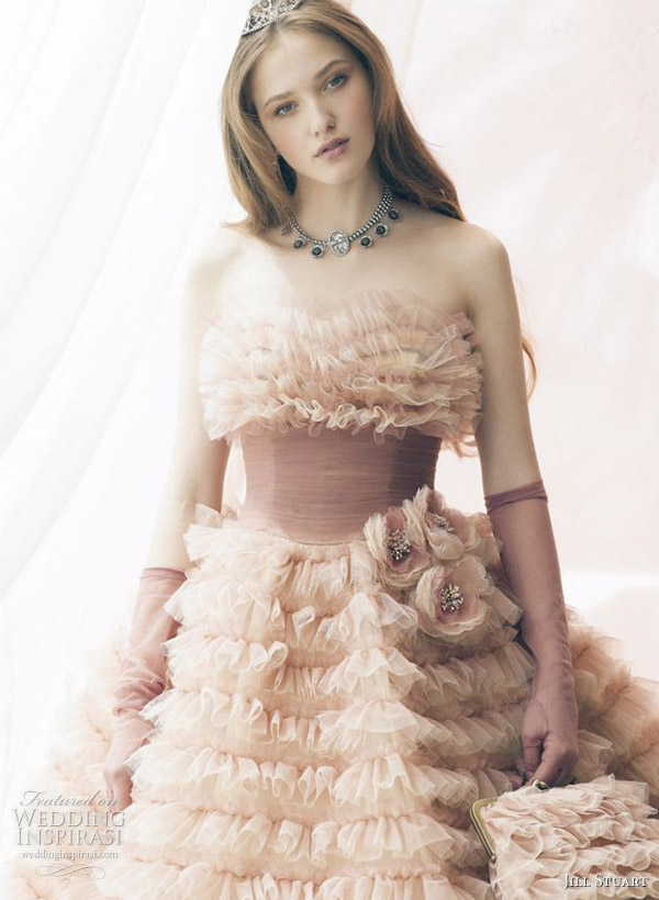 One of the most beautiful color or pink wedding dresses I've ever seen. By Jill Stuart Bridal.