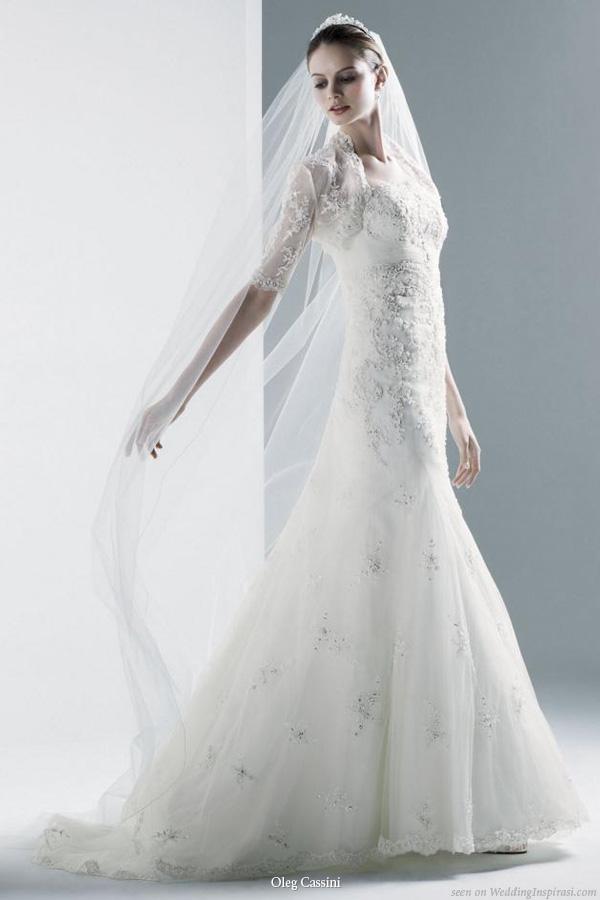 Oleg Cassini Wedding dress with lace bolero, 2010 david's bridal collection