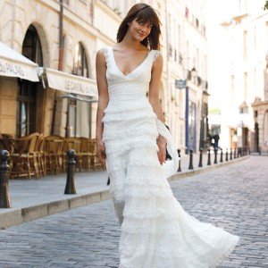 Ruffle tier wedding dress with wide straps and v-neck line from Cymbeline Paris 2010 bridal collection