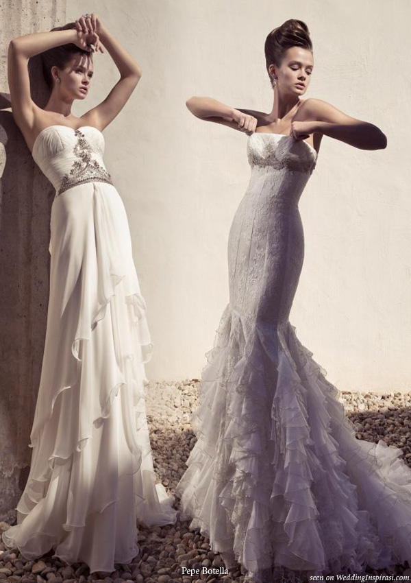 Two beautiful strapless wedding dresses from Pepe Botella Novias bridal collection