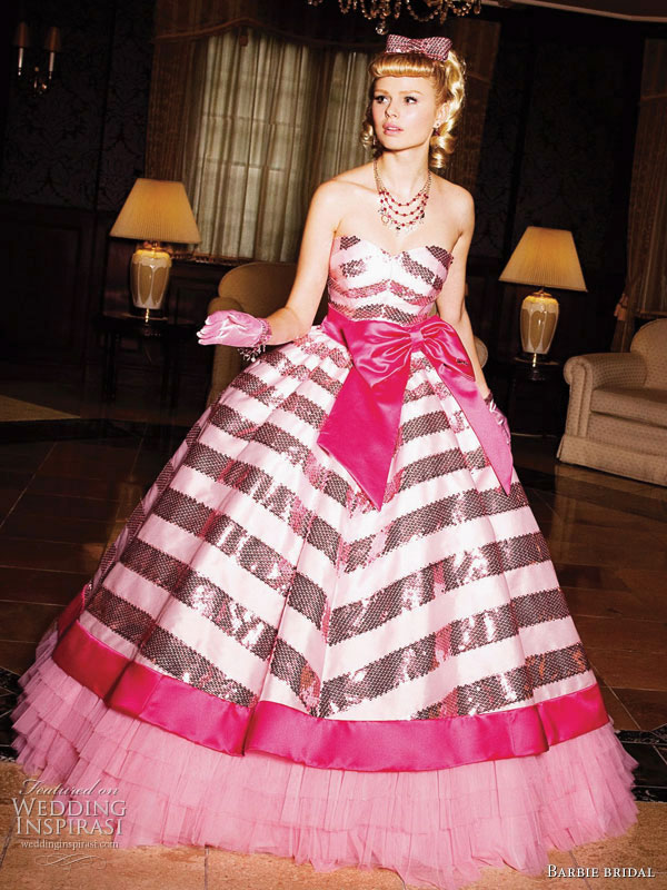 Pink and black stripe wedding ball gown from Barbie Bridal