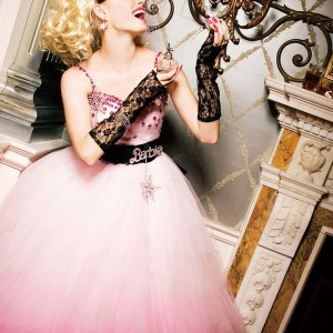 Pink, white and black Barbie Bridal wedding dress - Avril Lavigne Punk Rock Princess style