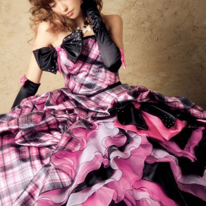 L et Lena pink and black checked tartan wedding gown with bow and gloves by Japanese model, singer, actress Fujii Lena