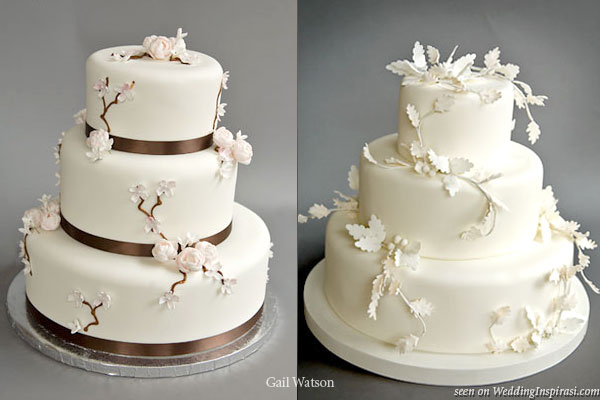 Pink and brown Dogwood cakewhite winter leaf cake from Gail Watson
