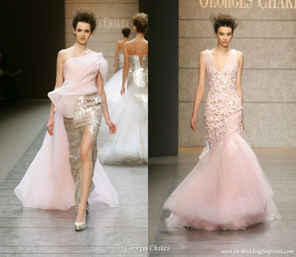 Pink and silver evening dress from Georges Chakra spring summer 2010 couture collection