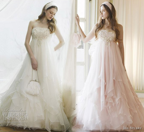 Soft, sweet, layered pink and white romantic wedding dresses from Jill Stuart