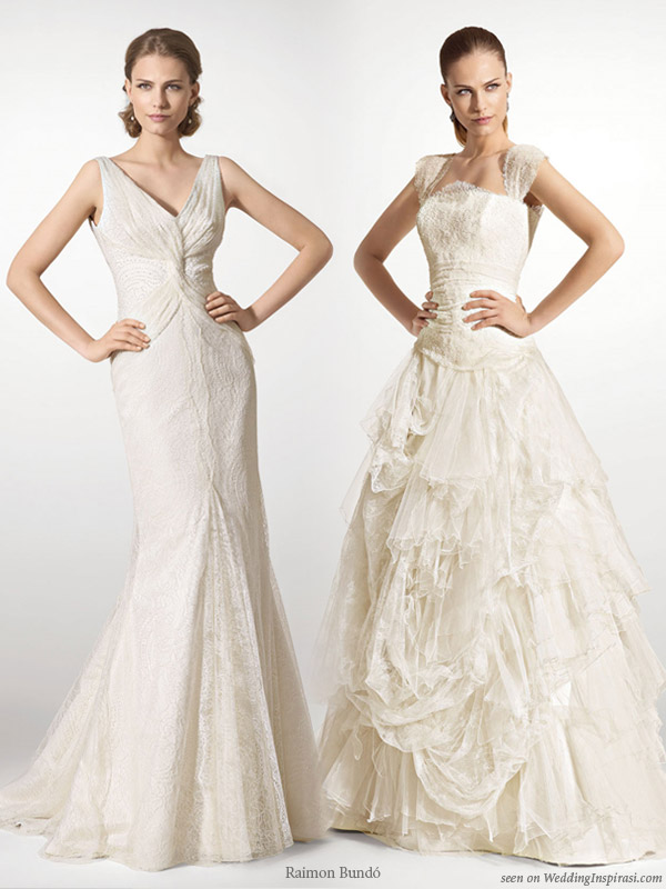 Wedding gowns from bridal house Raimon Bundo Barcelona, Spain