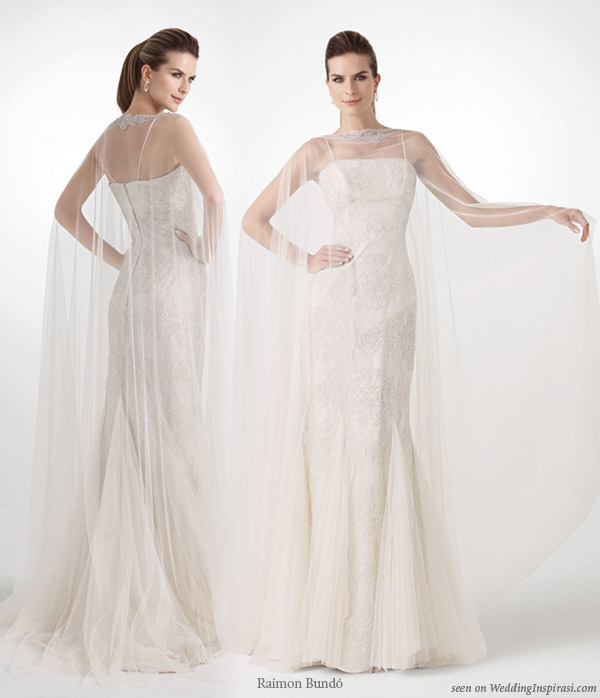 Tisu wedding dress with cape kaftan overlay by Spanish bridal house designer Raimon Bundo