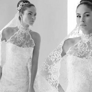 Lace high collar neck wedding gown from Nalia 2010 collection