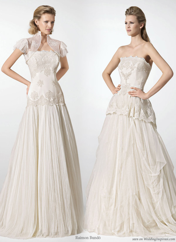 Strapless wedding dress and one with bolero cover up jacket from Barcelona based Spanish bridal house Raimon Bundo