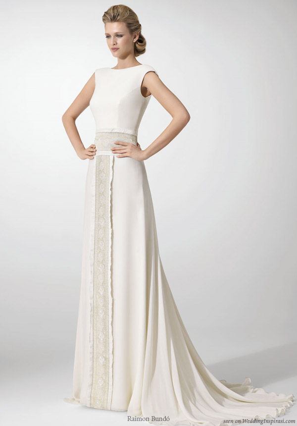 Raimon Bundo structured wedding dress with lace panel sash
