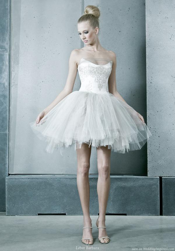 Short and sweet ballerina tutu wedding dress from Hungary based Léber Barbara