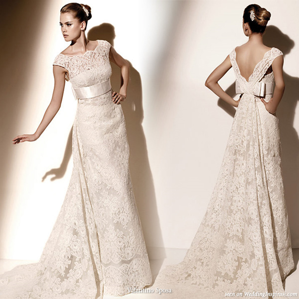 Valentino Sposa Pronovias lace wedding dress with sash and bow detail