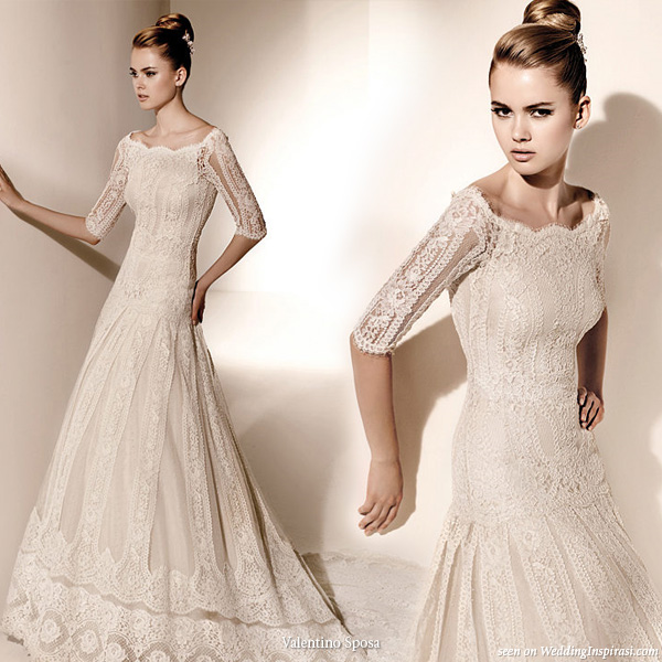 3/4 sleeve lace wedding gown from Valentino Sposa, Pronovias