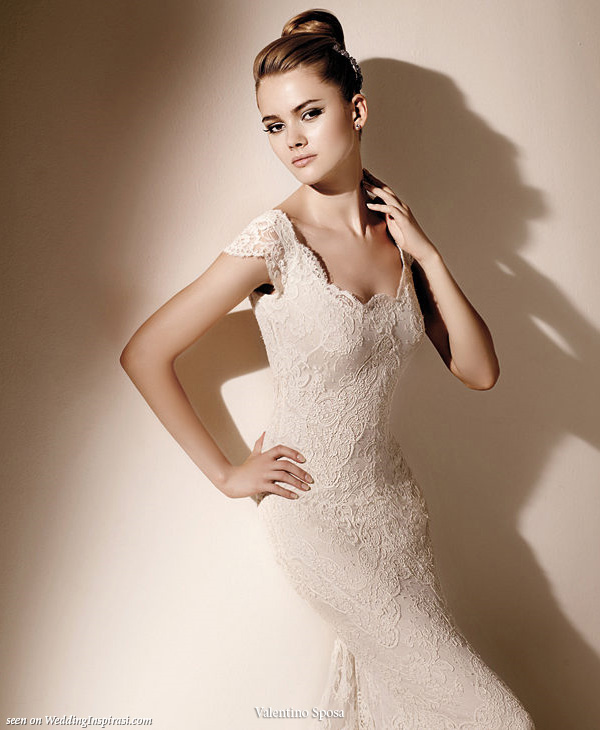 Cap sleeve elegant wedding gown from Valentino Sposa for Pronovias