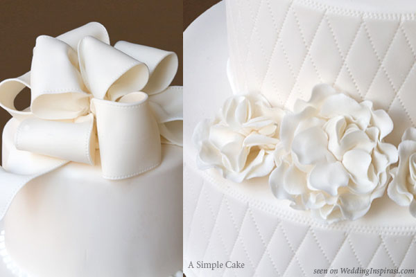 A Simple Cake made beautiful - customize your wedding cake decorations such as sugar bows or garden roses.